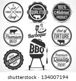 beef and barbecue badges and... | Shutterstock .eps vector #134007194