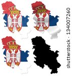 serbia flag over map collage | Shutterstock . vector #134007260