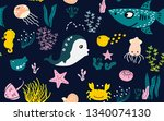seamless pattern with cute sea... | Shutterstock .eps vector #1340074130