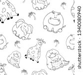 Stock vector vector seamless pattern with hand drawn funny cute fat animals silhouettes of animals on a white 1340080940