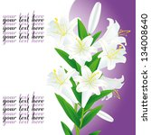 white lily on violet background | Shutterstock .eps vector #134008640