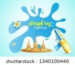 stylish text songkran on blue... | Shutterstock .eps vector #1340100440