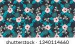 tropical leaves seamless... | Shutterstock . vector #1340114660
