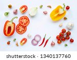 various fresh vegetables and... | Shutterstock . vector #1340137760