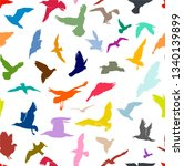 Seamless Flying Birds Colors...