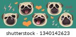 different emotions  pug dog ... | Shutterstock .eps vector #1340142623