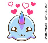 narwhal cartoon clipart   Shutterstock .eps vector #1340180150
