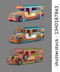philippine manila icons jeepney | Shutterstock .eps vector #1340187863