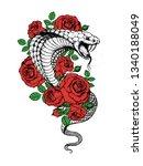 cobra snake and flowers hand... | Shutterstock .eps vector #1340188049
