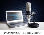podcast microphone and laptop... | Shutterstock . vector #1340192090