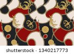print with gold chains and... | Shutterstock .eps vector #1340217773