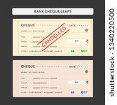 bank cheque set | Shutterstock .eps vector #1340220500
