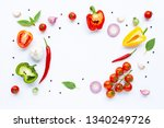 various fresh vegetables and... | Shutterstock . vector #1340249726