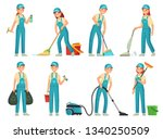 cleaning workers. professional... | Shutterstock .eps vector #1340250509