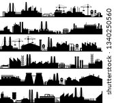 factory construction silhouette.... | Shutterstock .eps vector #1340250560