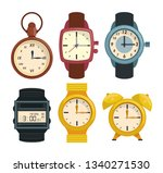clocks and wristwatch collection | Shutterstock .eps vector #1340271530