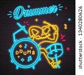drummer musician neon light... | Shutterstock .eps vector #1340280626