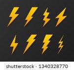 set lightning bolt. thunder... | Shutterstock .eps vector #1340328770