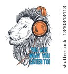 lion vector illustration with... | Shutterstock .eps vector #1340343413
