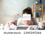 young woman with note help on... | Shutterstock . vector #1340345366