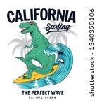 dinosaur surfing vector... | Shutterstock .eps vector #1340350106