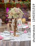 wedding banquet table with...   Shutterstock . vector #1340351519
