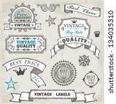 hand drawn vintage labels and... | Shutterstock .eps vector #134035310