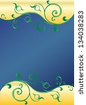 floral swirly blue and gold...   Shutterstock . vector #134038283