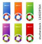 colored banners set with cubes... | Shutterstock .eps vector #134039564