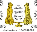 brohers togethe forever cheetah  | Shutterstock .eps vector #1340398289