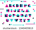 colorful font. geometric... | Shutterstock .eps vector #1340405813