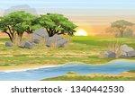 African Savannah. River  Rocks...