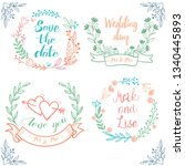 rustic hand sketched wedding... | Shutterstock .eps vector #1340445893