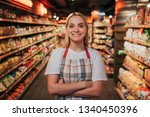 busy young woman stand in line... | Shutterstock . vector #1340450396