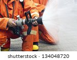 Firefighters Spray Water