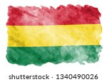 bolivia flag  is depicted in... | Shutterstock . vector #1340490026