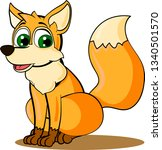young little fox with fluffy... | Shutterstock .eps vector #1340501570