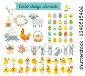 set of easter characters and... | Shutterstock .eps vector #1340515406