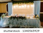 festive table  arch  stands...   Shutterstock . vector #1340565929