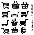 vector black shopping cart icon ... | Shutterstock .eps vector #134057093