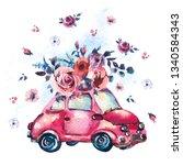 watercolor fantasy greeting... | Shutterstock . vector #1340584343