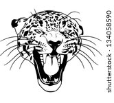 Leopard Wild Cat Outline Black...
