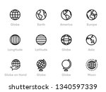 globe and continents editable... | Shutterstock .eps vector #1340597339