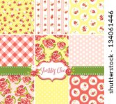 shabby chic rose patterns and... | Shutterstock .eps vector #134061446