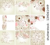 set of cute floral greeting... | Shutterstock .eps vector #134061449