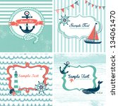 set of 4 nautical cards | Shutterstock .eps vector #134061470
