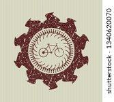 red bike icon inside distress...   Shutterstock .eps vector #1340620070
