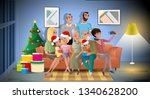 big family christmas party... | Shutterstock .eps vector #1340628200