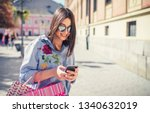 shopping time. modern young... | Shutterstock . vector #1340632019