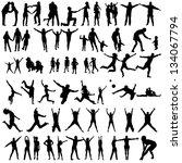 family silhouettes . vector...   Shutterstock .eps vector #134067794
